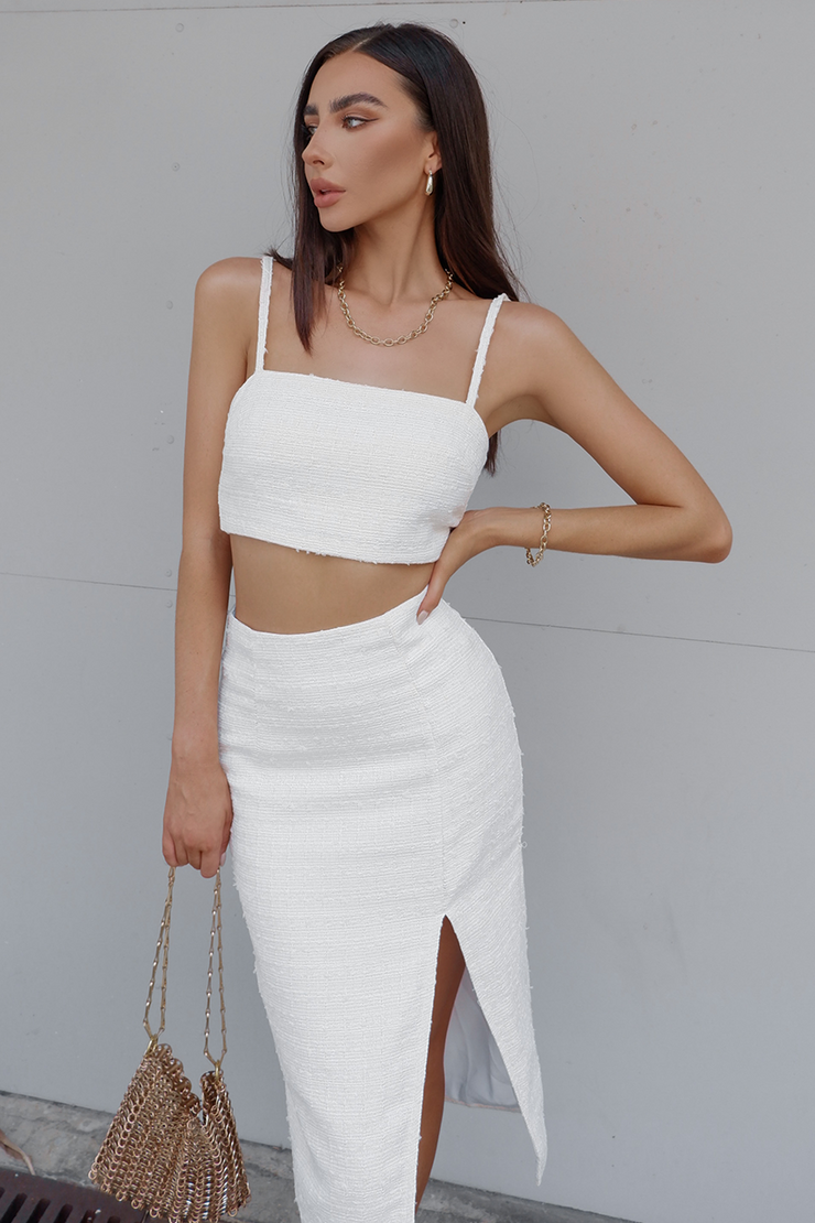 Angelica Midi Skirt - White