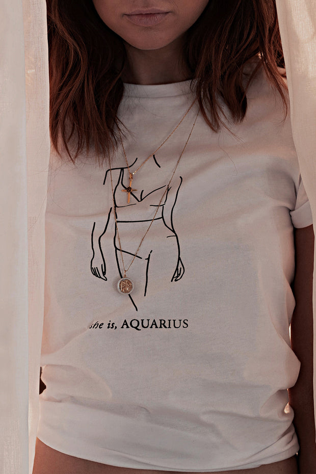 Aquarius Tee - White - SHOPJAUS - JAUS