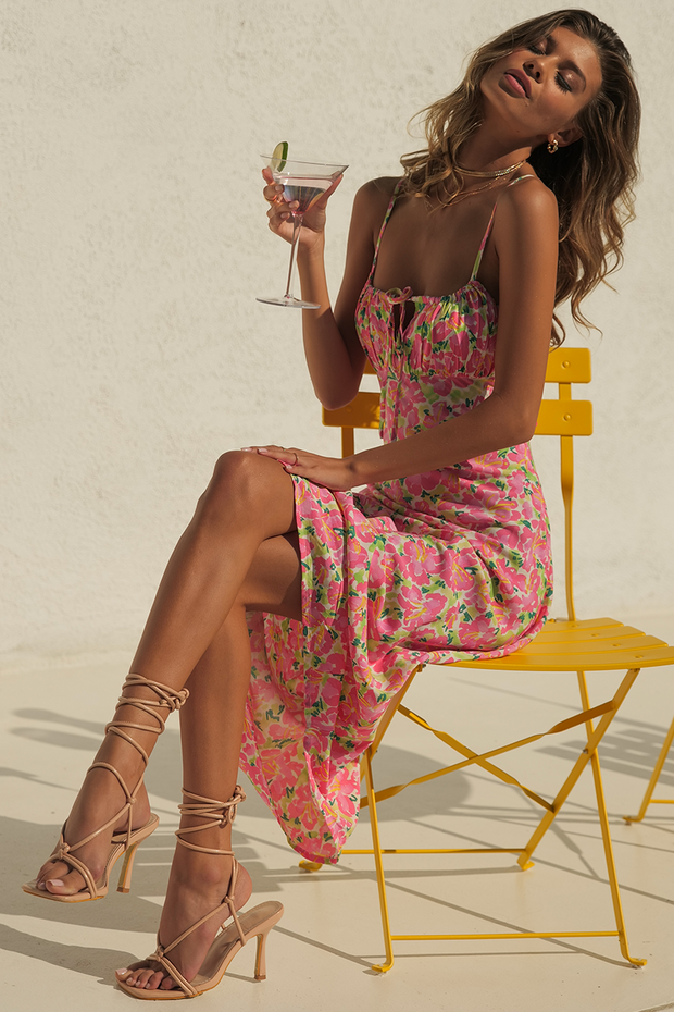 Kiki Midi Dress - Pink/Green Floral