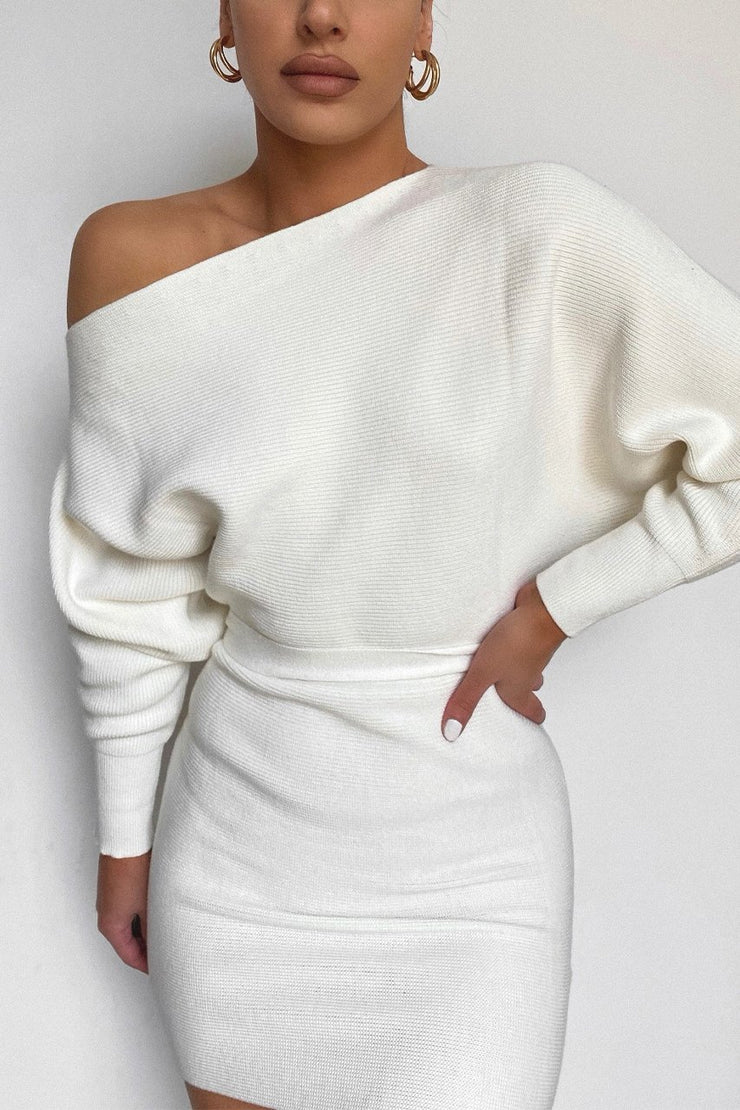 One Shoulder Knit Dress - Off White