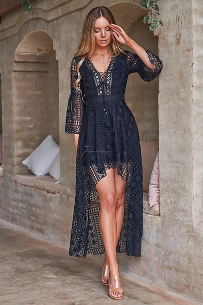 Boho High Low Dress - Navy - SHOPJAUS - JAUS