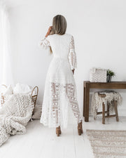 Boho High Low Dress - White - SHOPJAUS - JAUS