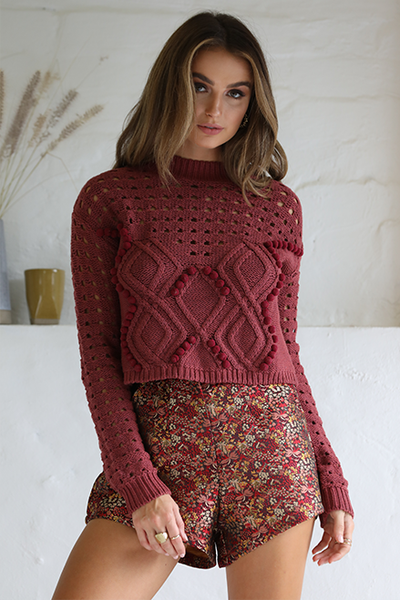 Chloe Sweater - Wine - SHOPJAUS - JAUS