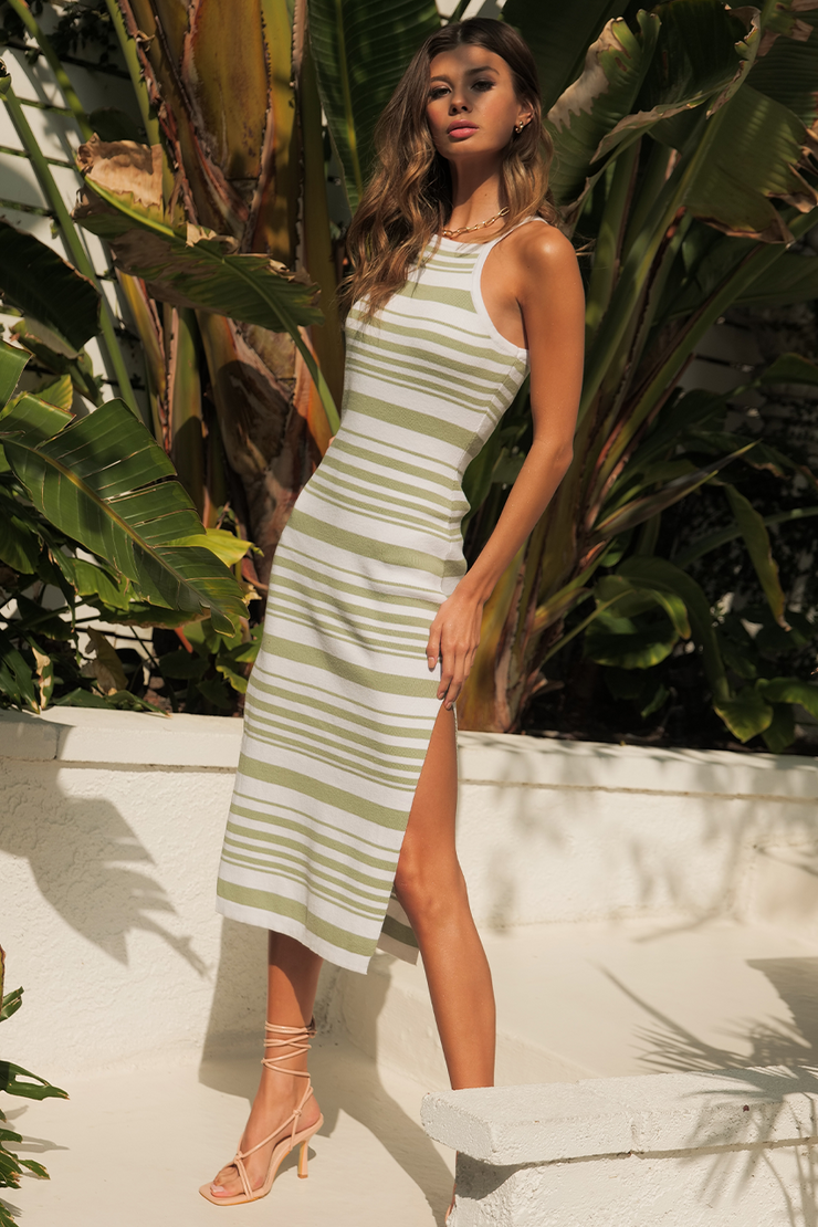 Cay Midi Dress - Sage/White