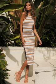 Cay Midi Dress - Tan/White
