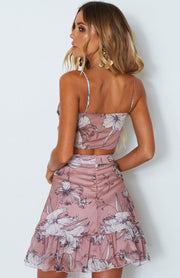 Cupid Crop - Pink/Grey Floral - SHOPJAUS - JAUS