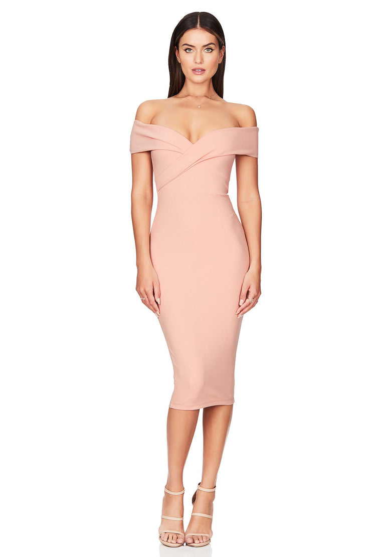 Nookie Neptune Off Shoulder Midi Dress - Blush - SHOPJAUS - JAUS