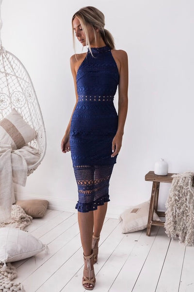 Rivers Midi Dress - Navy - SHOPJAUS - JAUS
