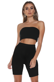 Rib Bandeau Top - Black - SHOPJAUS - JAUS