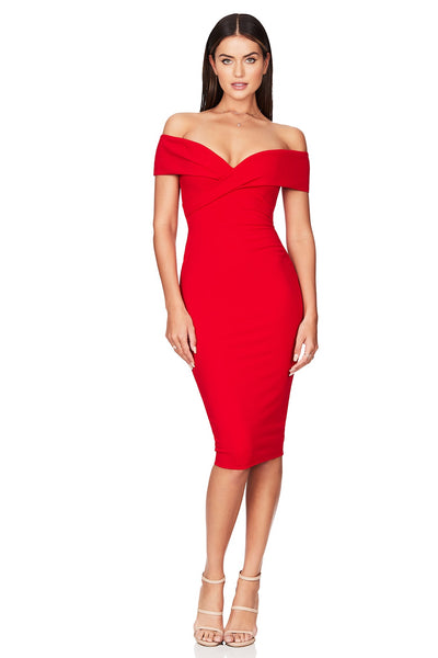 Nookie Neptune Off Shoulder Midi Dress - Red - SHOPJAUS - JAUS