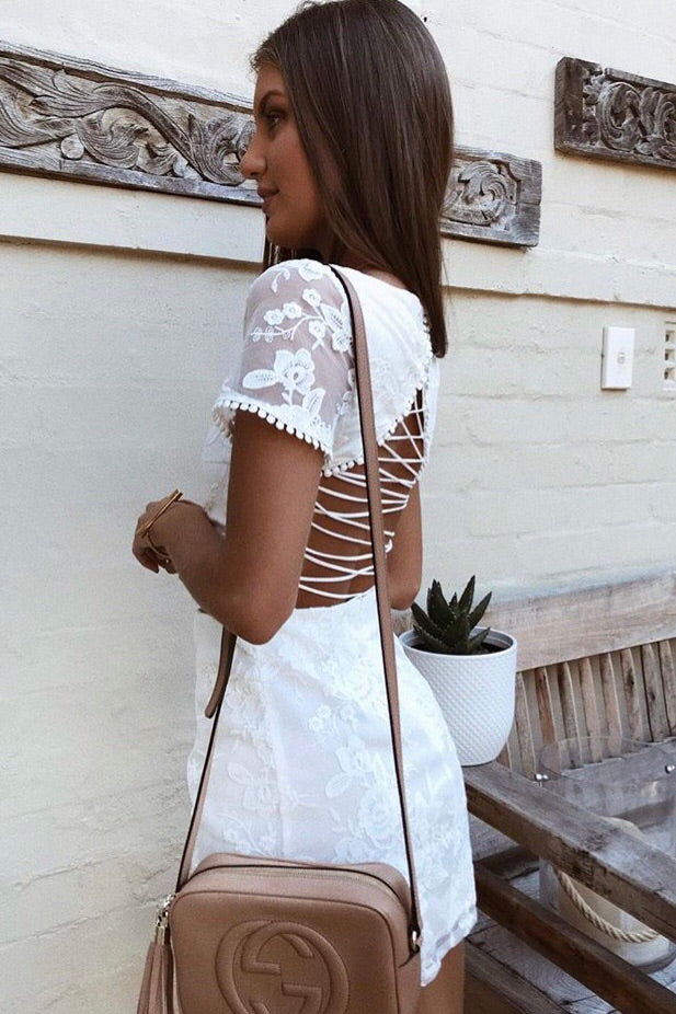 Shay Lace Dress - White (PREORDER)