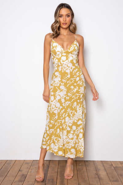 Nichole Dress - Mustard/White