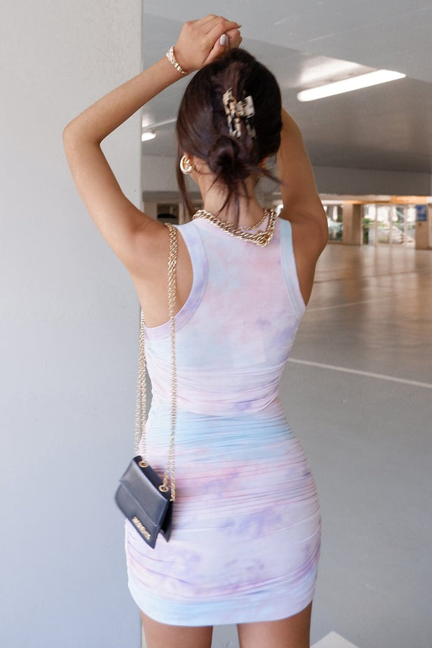 Tie Dye Mini Dress - Lilac