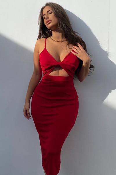 Serita Midi Dress - Red