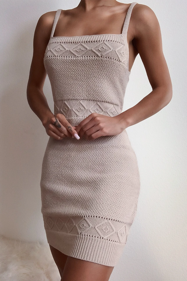 Rose Knit Dress - Sand - SHOPJAUS - JAUS