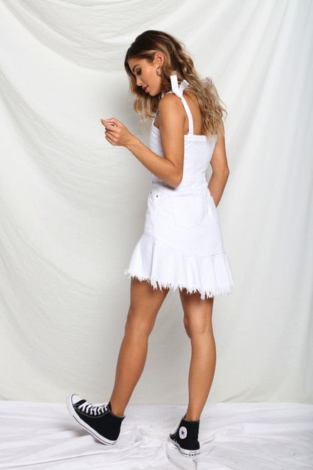 Electric Denim Dress - White - SHOPJAUS - JAUS