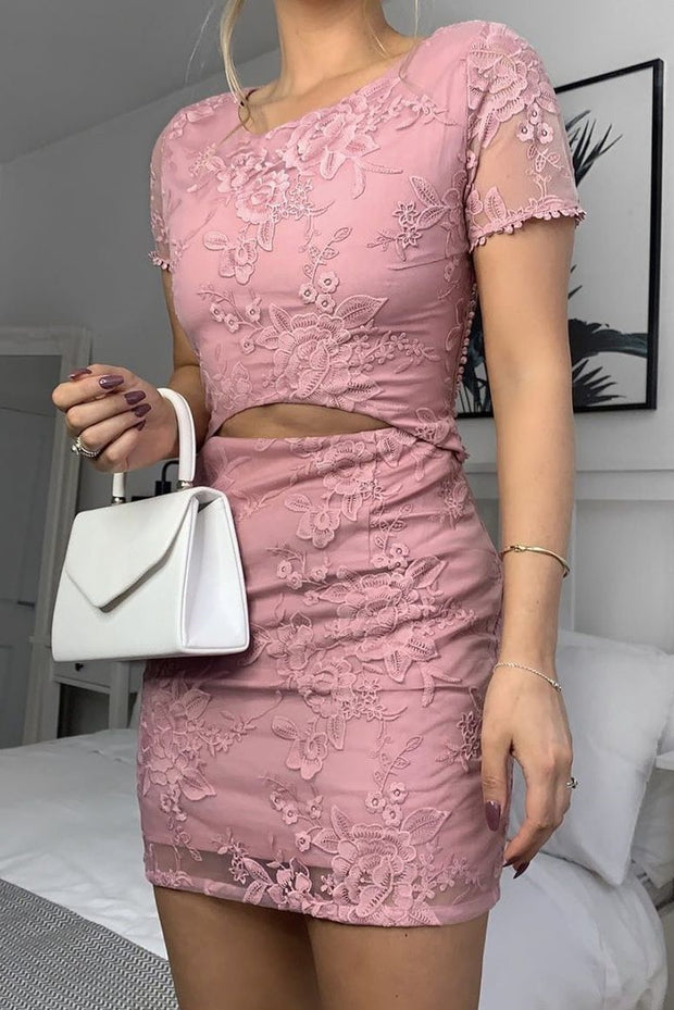 Shay Lace Dress - Pink - SHOPJAUS - JAUS