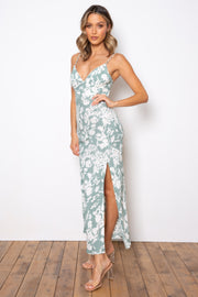Nichole Dress - Sage/White