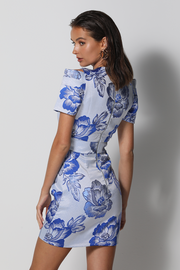 Suki Mini Dress - Blue Floral - SHOPJAUS - JAUS