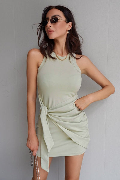 Mia Tie Dress - Sage