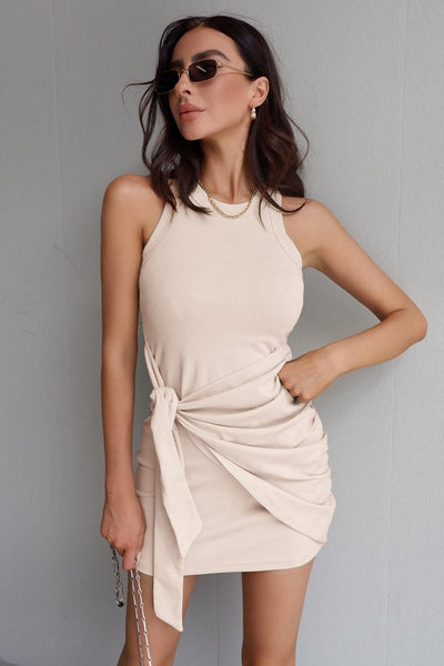 Mia Tie Dress - Sand