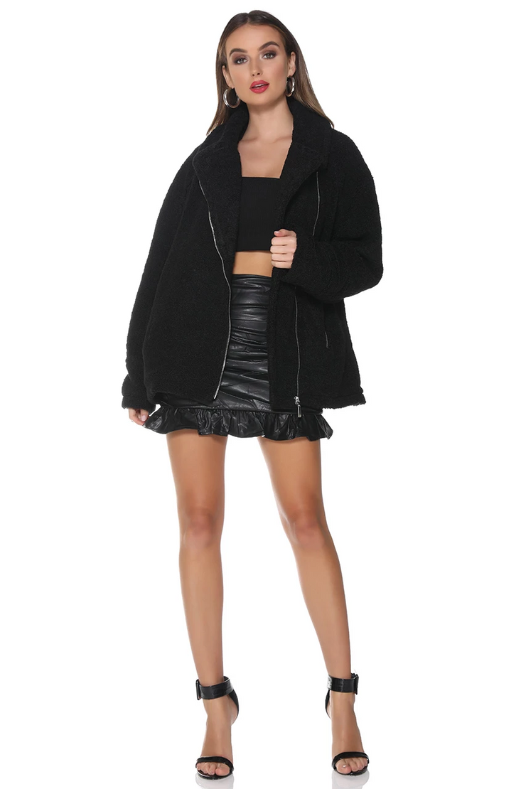 Teddy Jacket - Black - SHOPJAUS - JAUS