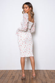 Tina Long Sleeve Dress - White Floral
