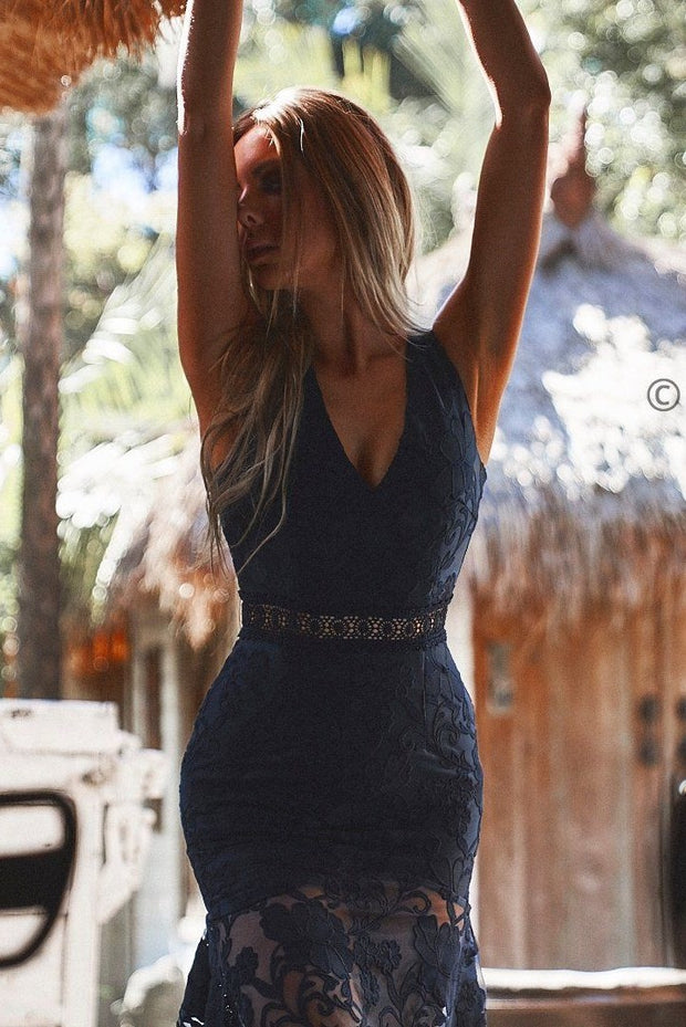 Ivory Dress - Navy - SHOPJAUS - JAUS