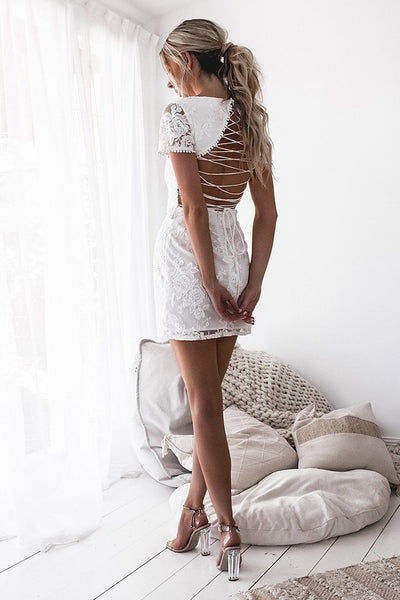 Shay Lace Dress - White - SHOPJAUS - JAUS