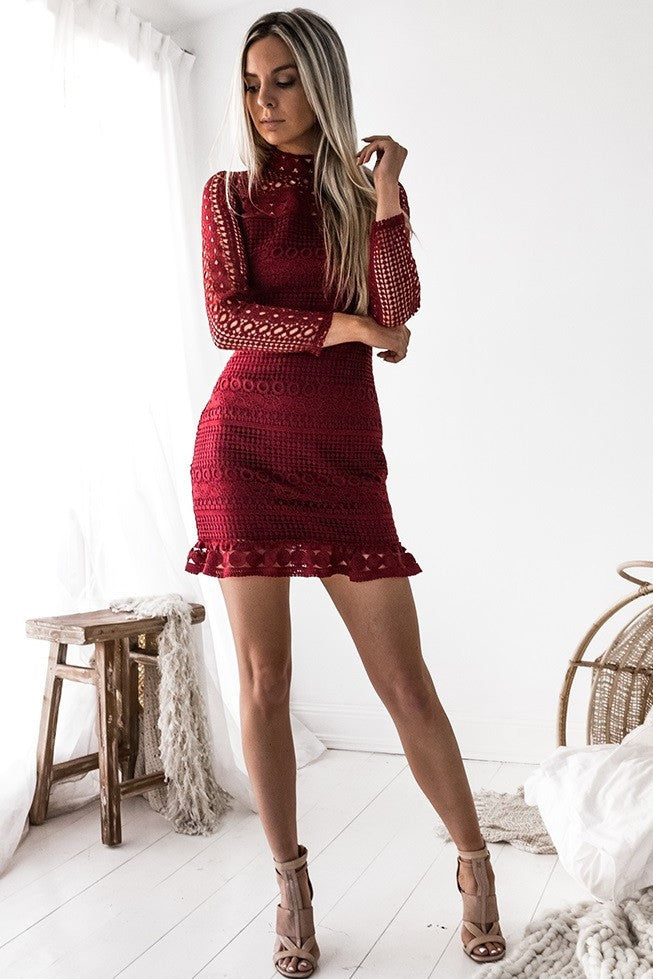 Riverdale Dress - Wine - SHOPJAUS - JAUS