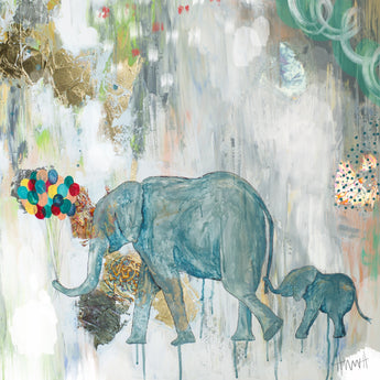 Mom and Baby Elephant with Balloons