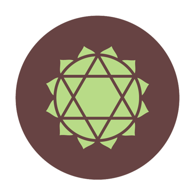 illustration of Heart Chakra brown green