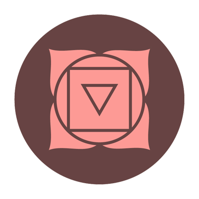 illustration of root chakra symbol brown pink