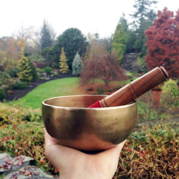 hand holding Shanti Bowl singing bowl wooden mallet with red suede cover inside