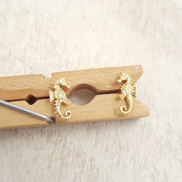Gold Seahorse Studs