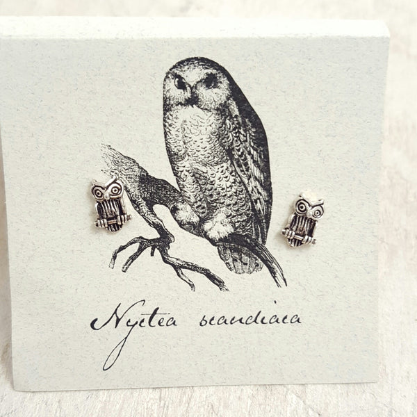 Silver Owl earring card