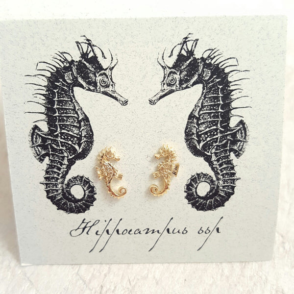 Gold Seahorse earring card