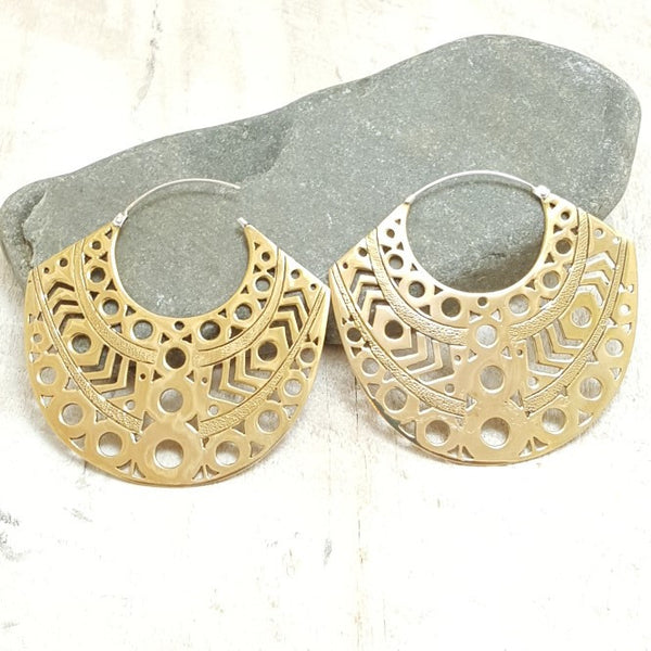Large Aztec Brass Hoop Earrings