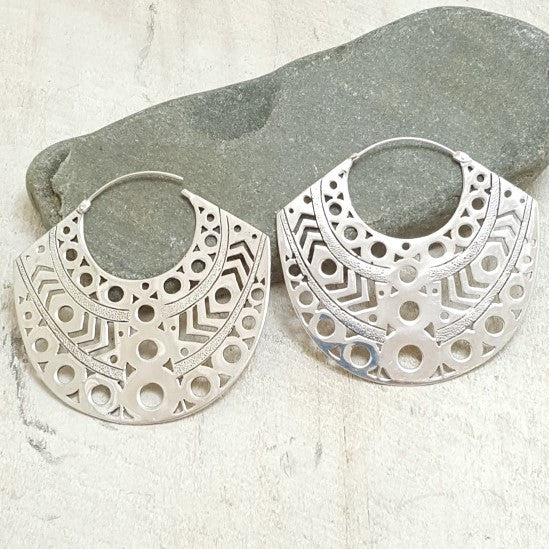Large Aztec Silver Hoop Earrings