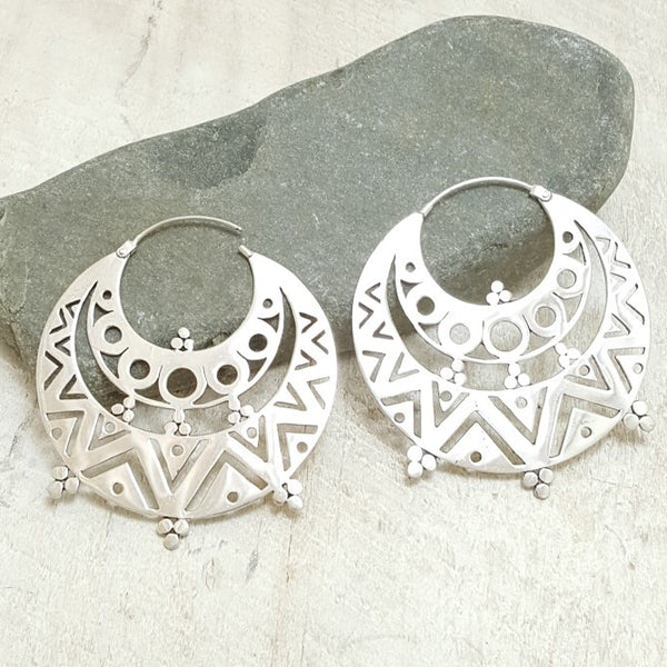Large Gypsy Silver Hoop Earrings