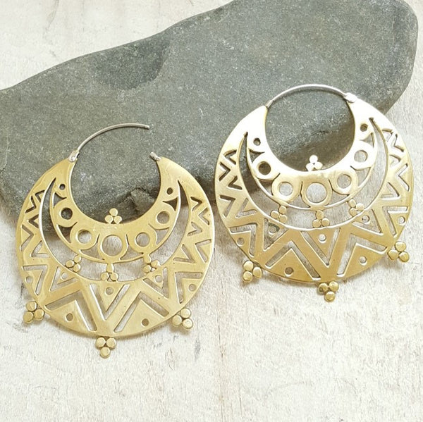 Large Gypsy Brass Hoop Earrings