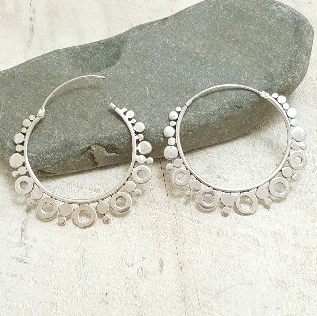 Large Venus Silver Hoop Earrings