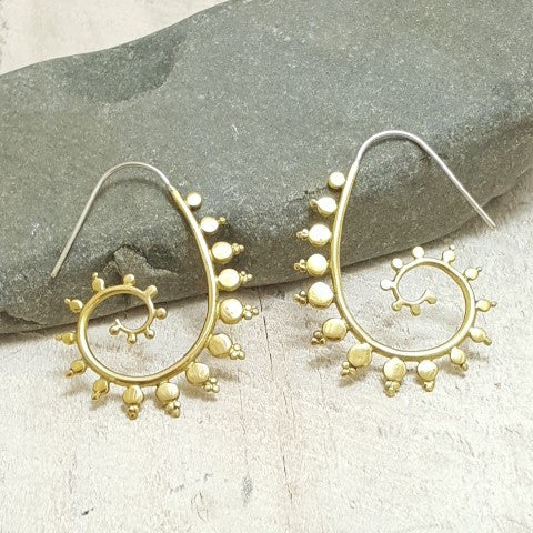 Fractal Spiral Brass Hoop Earrings