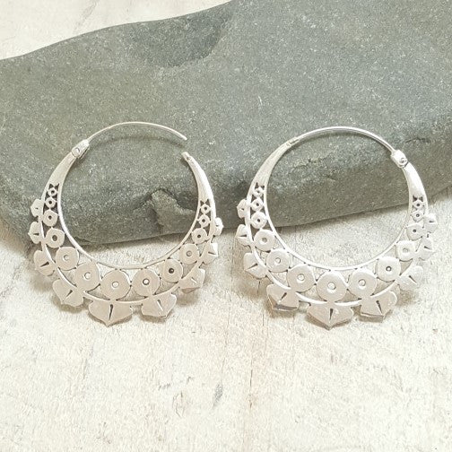 Lotus Geo Silver Hoop Earrings
