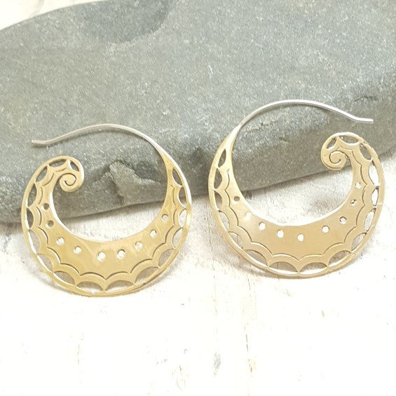 Medium Spiral Moon Brass Hoop Earrings