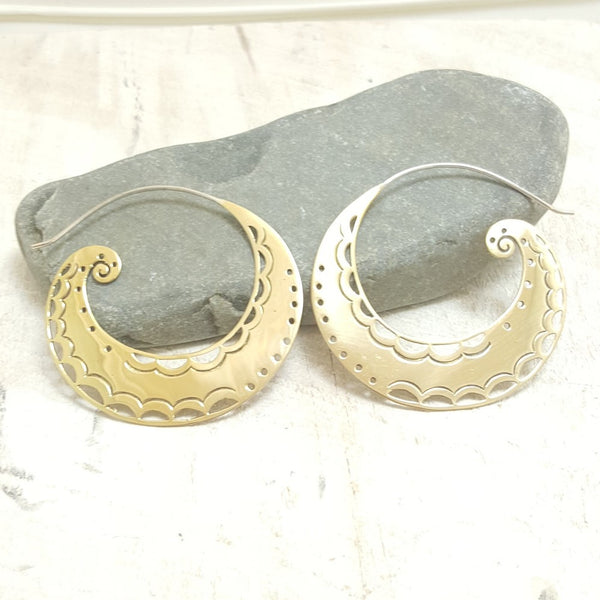 Large Spiral Moon Brass Hoop Earrings