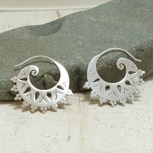 Tribal Spiral Silver Hoop Earrings