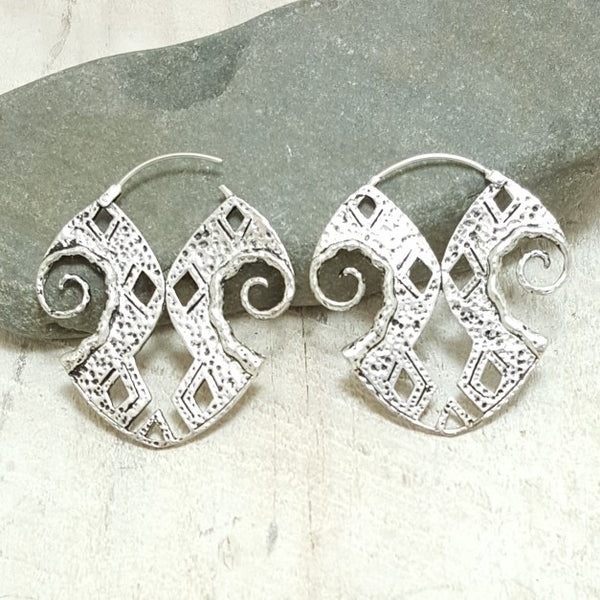 Inca Silver Hoop Earrings