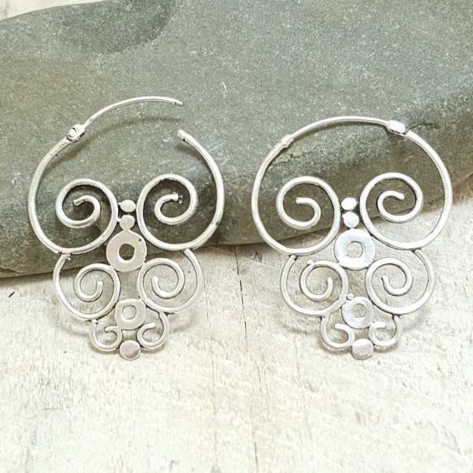 Nazca Silver Hoop Earrings