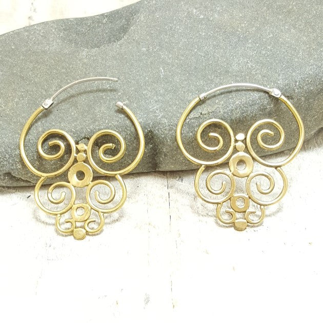 Nazca Brass Hoop Earrings